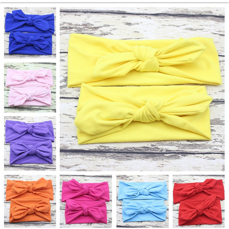 knot mother and baby plain hair cotton head band