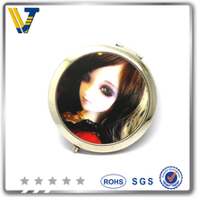 novelty costomized round shaped compact mirror with crystal