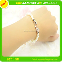 Wholesale fashion jewelry cheap rhinestone pearl chain animal head pearl bracelet