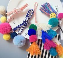 DIY POM BALL PENDANT key chain Mobile Phone Decoration braided wire