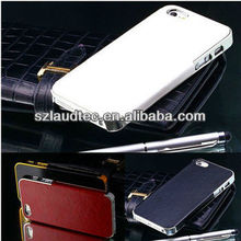 ACCESSORIES for NEW APPLE iPHONE 5S 5 LUXURY LEATHER CHROME HARD BACK CASE COVER for IPHONE5 5S