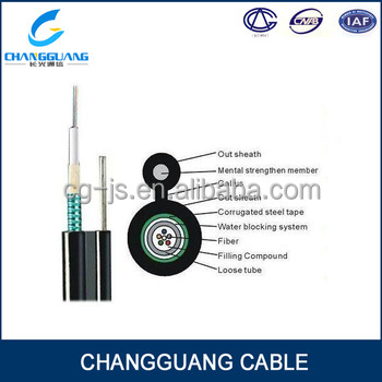 Single and Multi mode outdoor GYXTC8S armoured 12 core fiber optic cable
