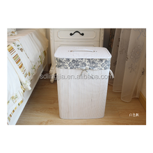 Handmade White Bamboo Rectangle Foldable Home Laundry Hampers