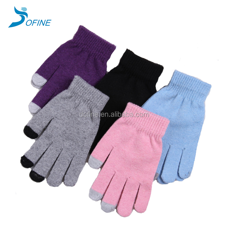Custom Capacitive Mobile Smart Phone Tablet Cotton Warm 3 Fingers Knitted Winter gloves Touch screen Gloves
