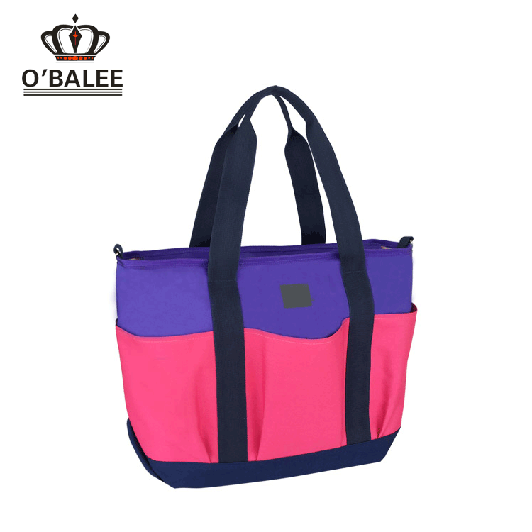 2017 new design pink blue recycled PET baby diaper bag with changing mat