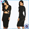 Women Elegant Sexy New Cut Out Side Waist Long Sleeve Bandage Midi Night Club Pencil Dress