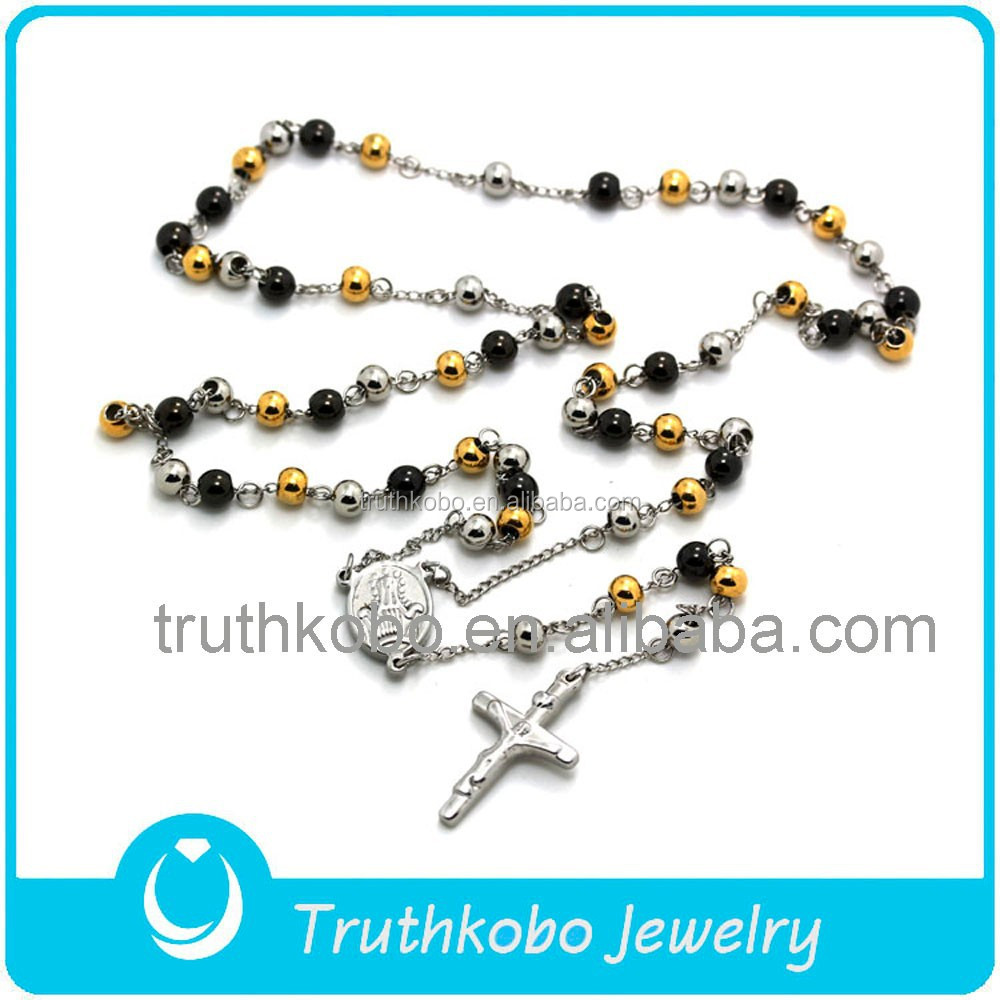 T/&T S.Steel Rosary Bead Necklace Gold 4mm /& 6mm With Crucifix For Couple