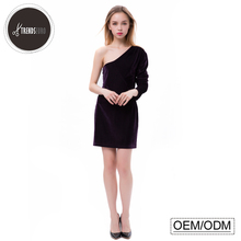 latest dress designs slim one-shoulder long sleeve party women sexy prom dress