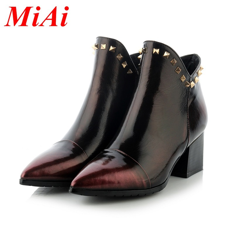 women's fashion ankle boots genuine leather shoes botas femininas 2016 autumn winter boots med heels zipper shoes boots woman
