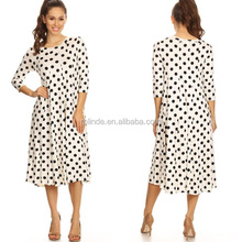 Adult Mature Women Dresses Fashion Custom Knee Length Casual Long Sleeve Wholesale Polka Dot New Design Office Dress