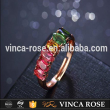 2017 New design fashion silver jewelry colorful rainbow tourmaline gemstone ring