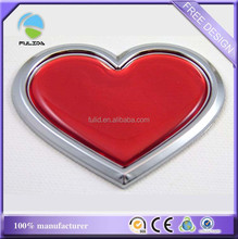 Custom Heart Shape 3D Plastic Chrome Dome Car Emblem Badge