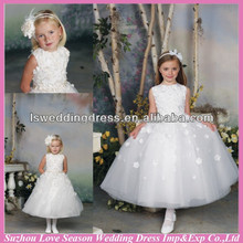 HF2030 New style jewel neck off white handmade flowers on top and skirt bow band tulle ball gown dress flower-girl-dress-pattern
