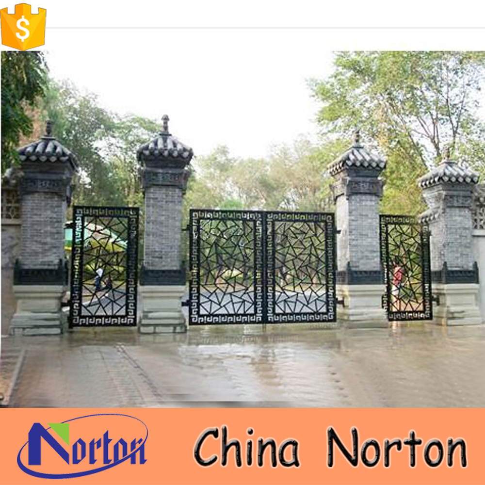 2016 Classic design customized powder coated cheap wrought iron gates for house building NTIG-050L