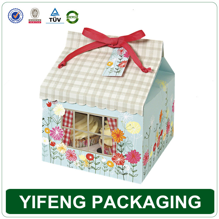 China custom cheap e-co friendly mini paper printing folding house shape cupcake boxes