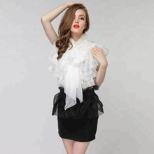 Lady Sexy Transparent Tops New Model Chiffon Mesh ruffle high neck blouse