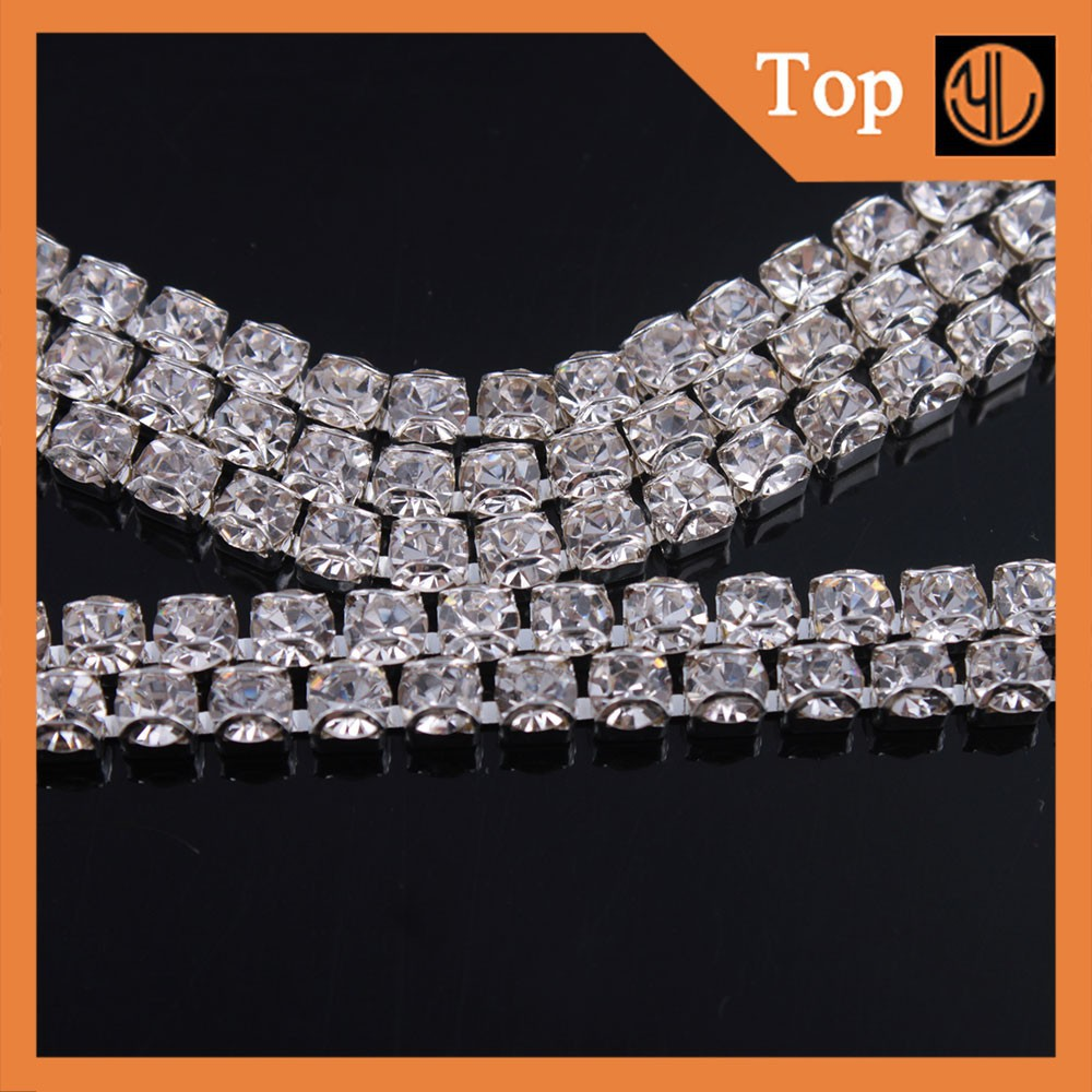 Decorative Sliver Rhinestone Cup Chain Crystal Chain Roll