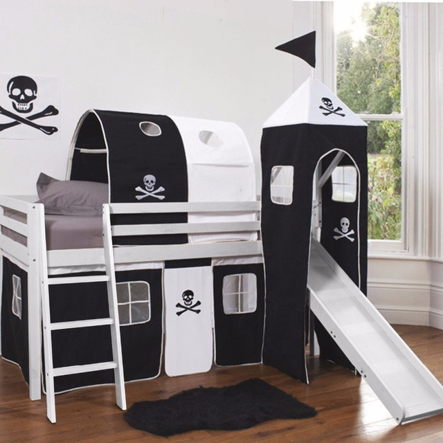 SD- 1207B Cabin Bed with Tower, Tunnel & Slide WHITE