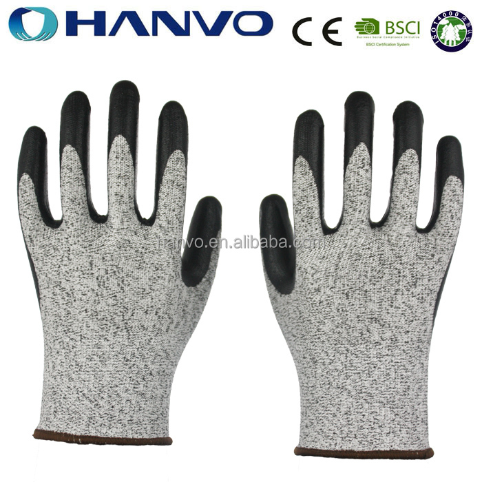 HANVO High Quality Black Nitrile Coated Palm Chemical Resistant Glove