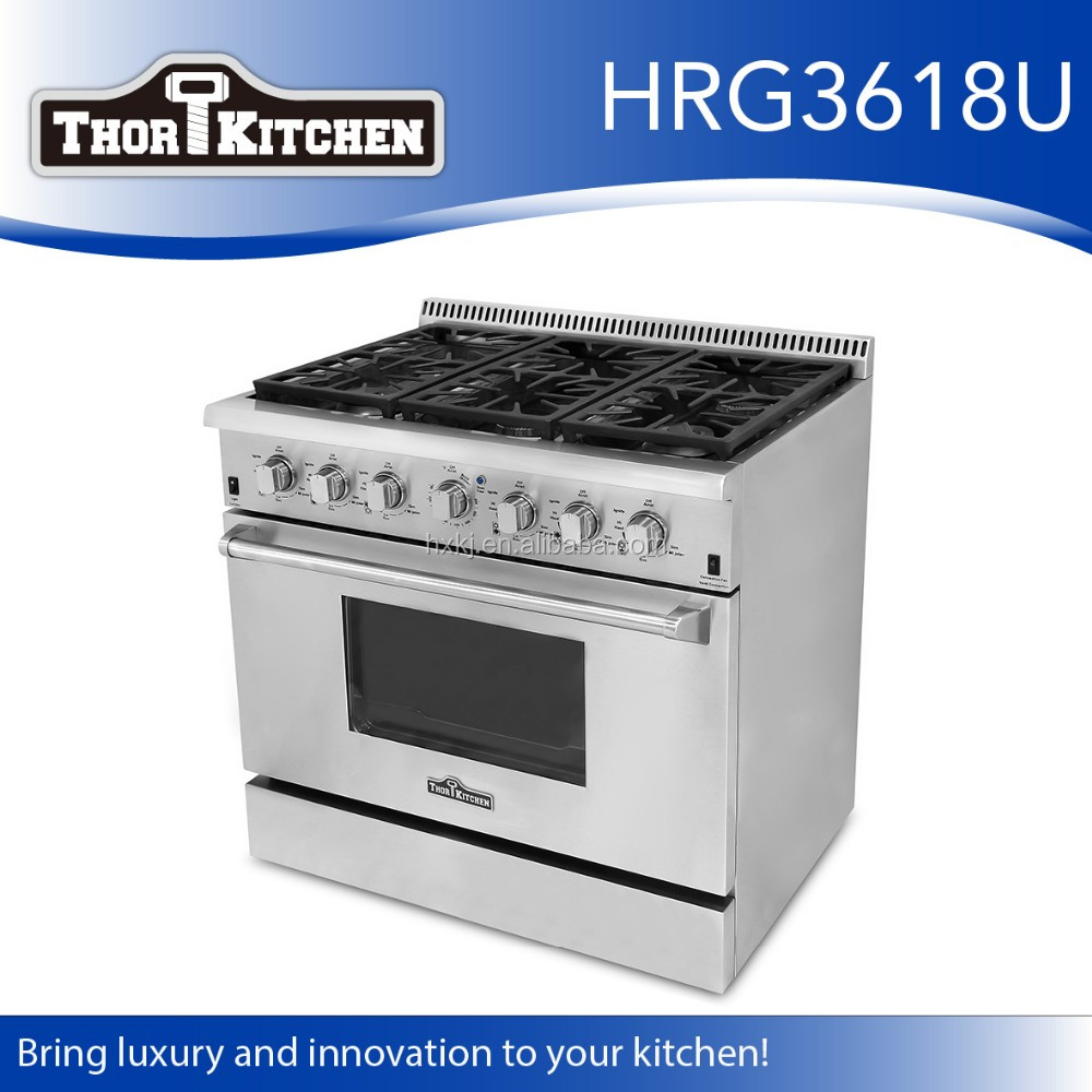 36 inch Porcelain Enameled gas range with Convection ovens