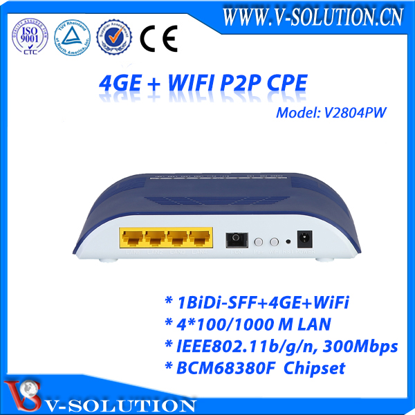 FTTH Solution 1BiDi-SFF+4 Internet Data Port +WiFi P2P CPE Supported Device Firewall/QoS/VPN