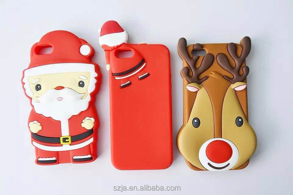 Christmas 3D Elk Soft Case For iPhone 6 6s Silicon Animal Phone Case Santa Claus Series silicone for iphone6 6s case