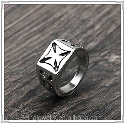 2016 stainless steel cross ring custom stainless steel signet rings (HTR-002)