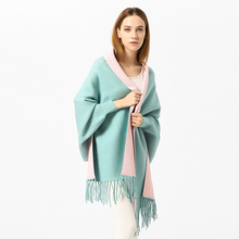 SF17223131 Tassel Long Cardigan Female 2018 Sweater Women Cape Poncho with sleeve Lady Winter light color shawl