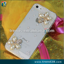 custom pearl diamond pc phone case for iphone5