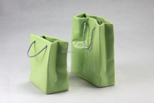 Hot sale four different size of shopping bag shape ceramic vase