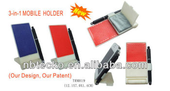 New 3 in 1 touch pen, microfiber cloth and mobile holder