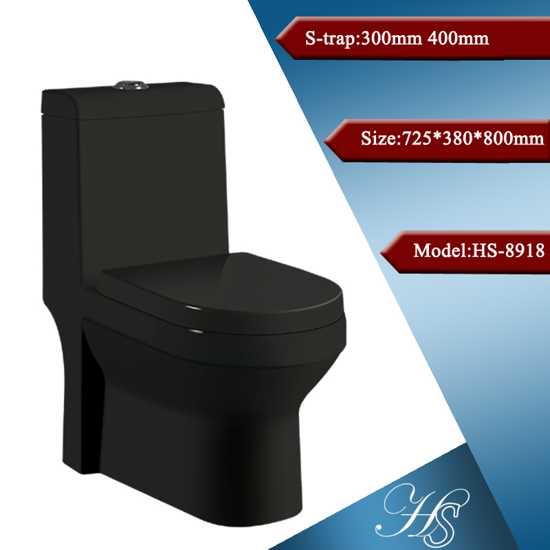 Black color one piece s-trap floor mounting squat color wc tall toilet