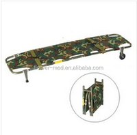 Aluminum lightweight metal folding military stretcher with wheel