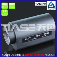 "1/3"" 10-200mm two motors zoom and focus telephoto high quality with factory price motorlized lens"