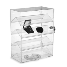 "New Retails Rotating Acrylic Showcase with Lock Size 13 1/4"" W x 7 ""D x 17"" H"