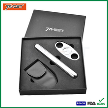 Stainless Steel Smoking Accessories Kit with Cigar Cutter in Gift Cigar Box