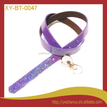 fashion purple glittered bowknot shiny leather dress belts