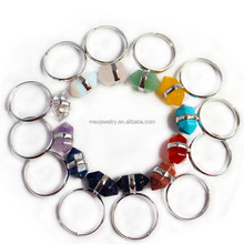 Unique Ajustable Simulated Gemstone Mix Stones Hexagon Beads Healing Point Chakra Good luck Finger Ring