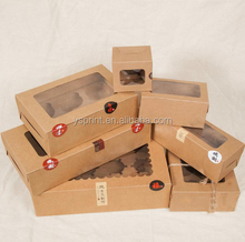 Large Brown Muffin packaging 6 cupcake boxes 8,Kraft paper gift cake box with pvc window, 4 cupcake packing craft paper box