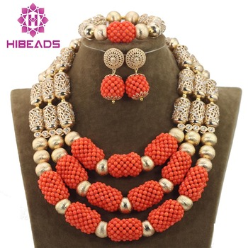 2016 wholesale fashion african coral beads jewelry set for nigerian wedding bridal jewellery dubai 18k gold accessories new7365
