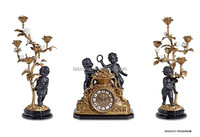 Retro Classic Bronze Table Clock With Porcelain Cherub, European Style Engraved Brass Decorative Candle Stick Holder