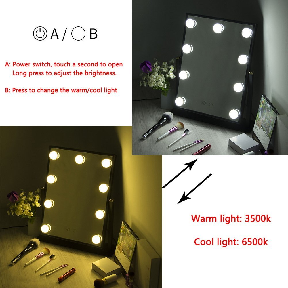 Professional Hollywood style cosmetic Dressing Room Tabletop Lighted Led Vanity Makeup Mirror Plug in Illuminated with 9 Bulbs