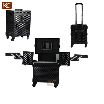 Professional storage cosmetic boxes & bins, hair stylist makeup case with trolley, with many trays compartments inside
