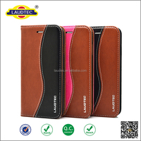 2016 New fashion S line style phone case constrast color genuine leather wallet case for iphone 6s, for iphone 6s case--laudtec