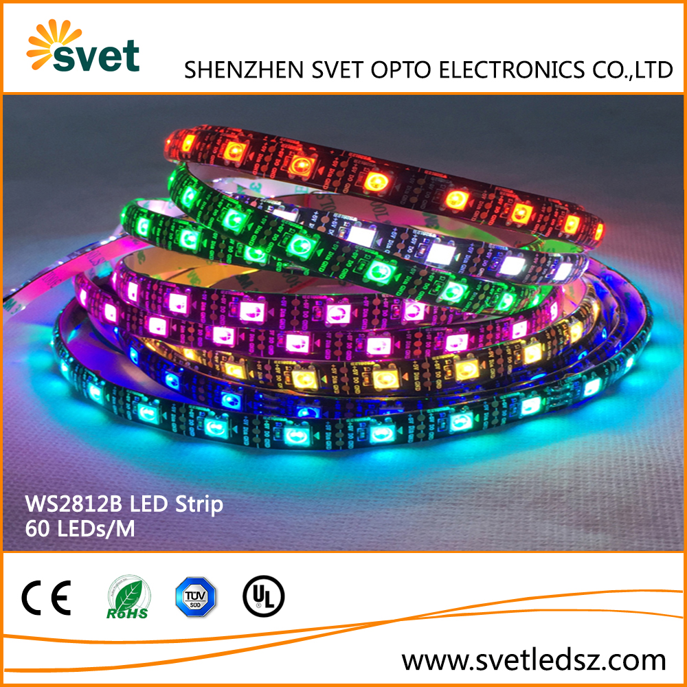 Waterproof DMX RGB IP65 5050 60 LED Addressable LED Strip WS2812 5v Black PCB