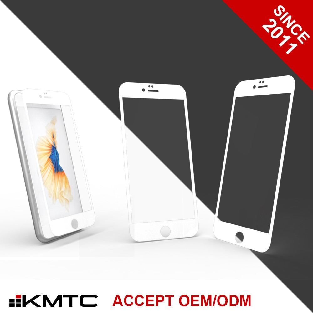 "KMTC OEM New 3D Full Cover Tempered Glass Screen Protector Paper Packaging for iphone 6 4.7"" WH"