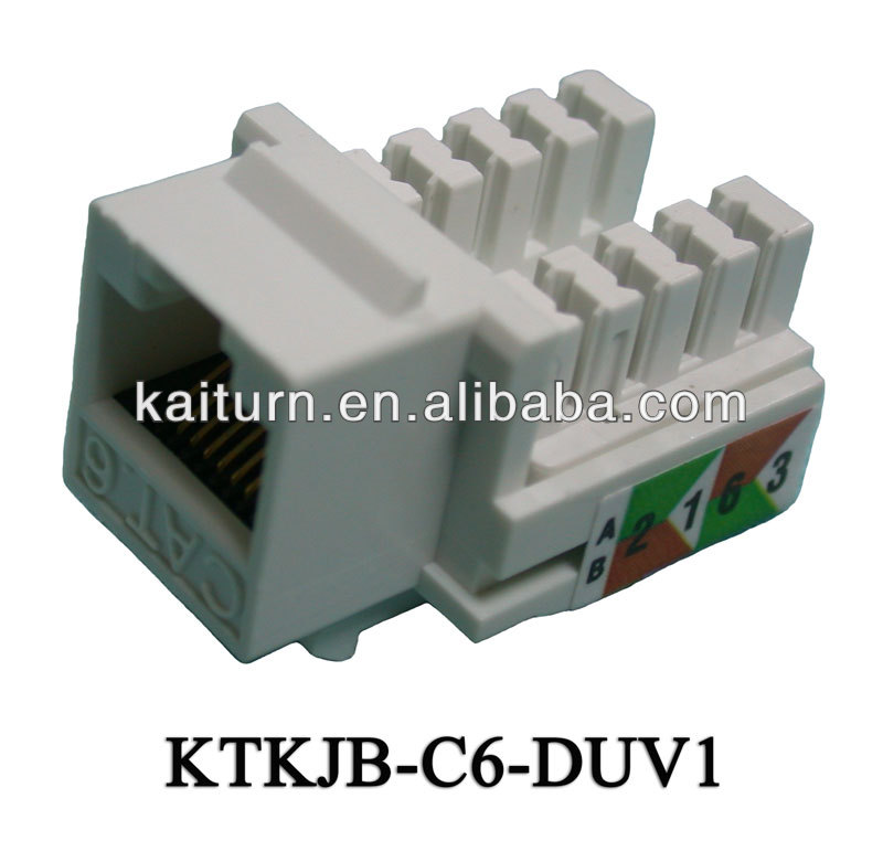 Cat. 6 Dual IDC Unshielded 90 degree Keystone Jack