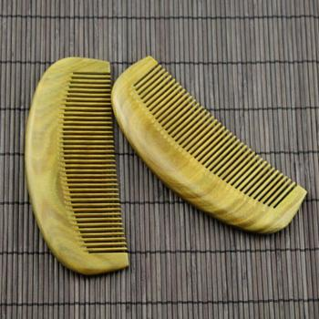 Handmade Green Sandalwood Comb Fine-tooth with Anti-static for Detangling Curly Hair and Beard Comb Pocket Wood Comb