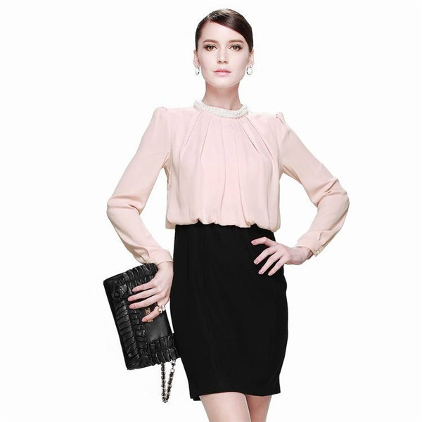 2014 new pearl collar Slim fold lady dress,alibaba com