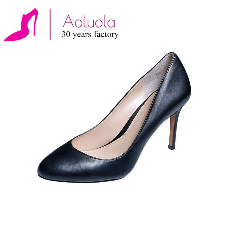 genuine leather pointed toe high heel women's court pointe shoes for ladies